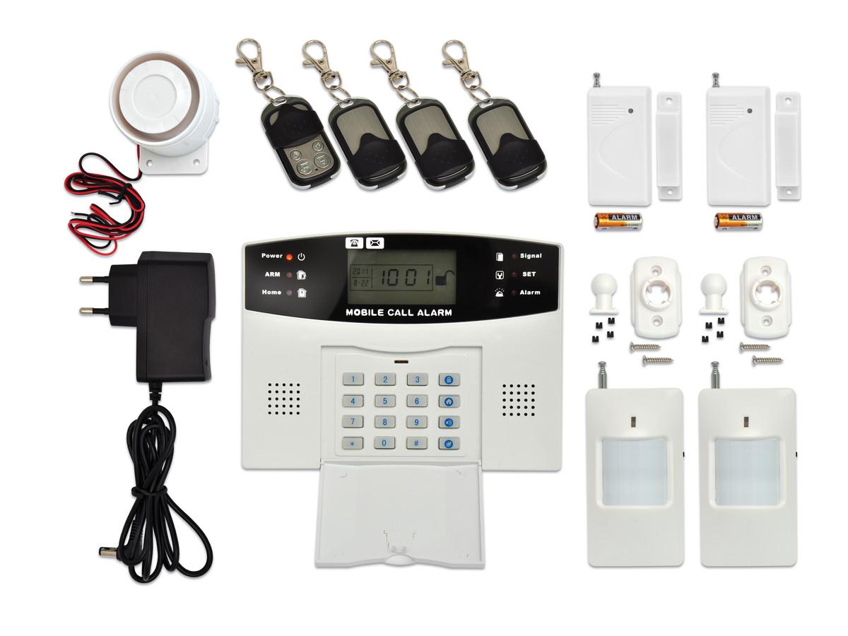 Bezdrátový GSM alarm s LCD displ., 4x dálk.ovl., 2x PIR, 2x DOOR, 1x siréna