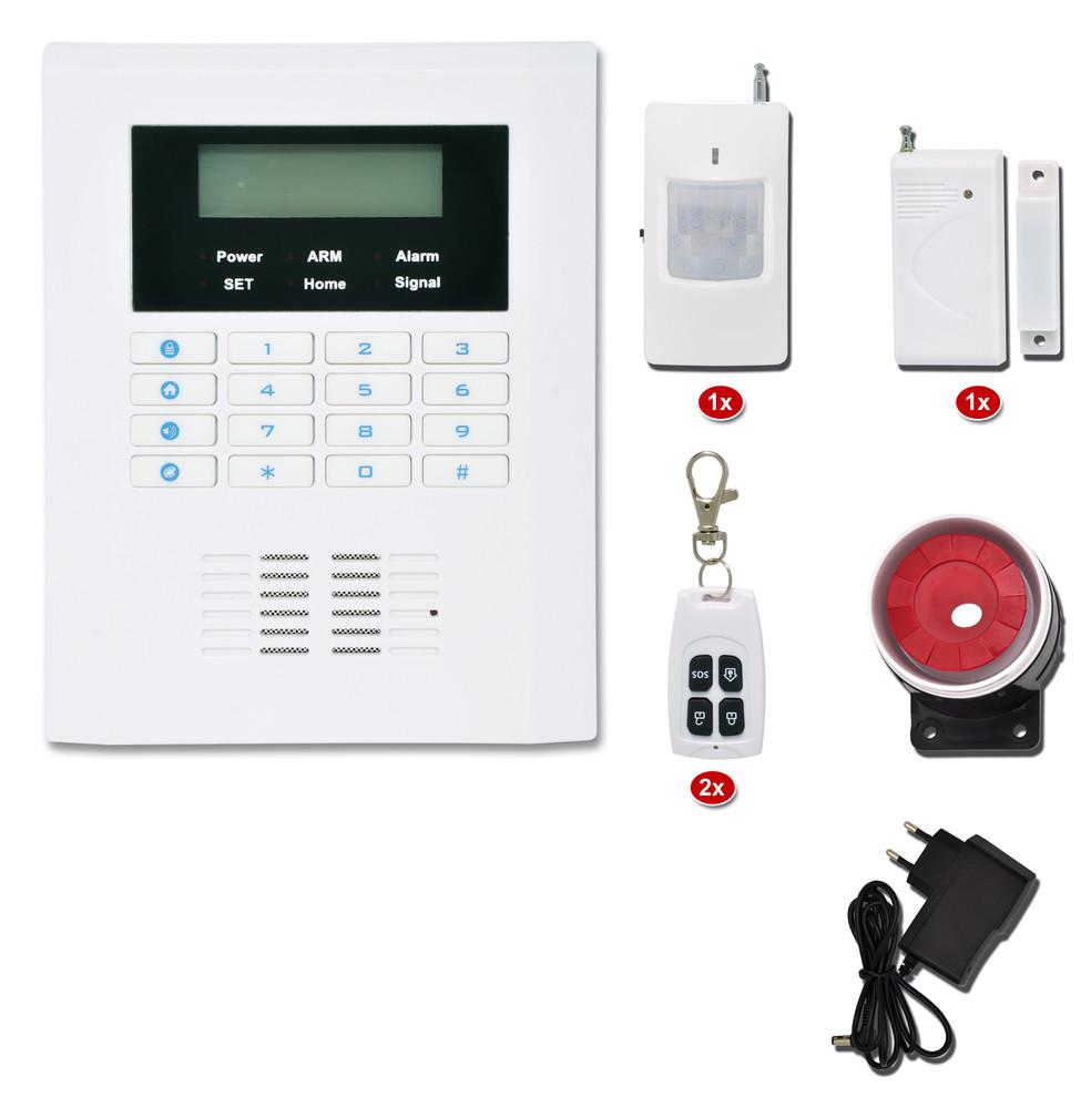 Bezdrátový GSM alarm, 2x dálk.ovl., 1x PIR, 1x DOOR, 1x siréna