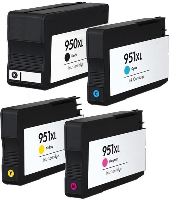 Kompatibilní inkousty s HP HP950XL černý + HP951XL modrý, červený a žlutý - s čipem