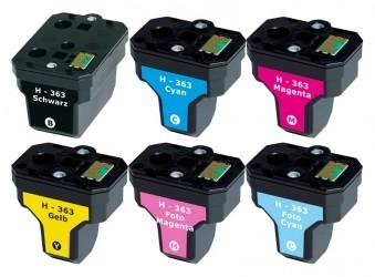 Kompatibilní inkousty s HP Q7966EE (HP363) černý,modrý,červený,žlutý,světle modrý a světle červený