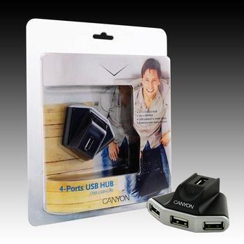 USB HUB CANYON CNR-USBHUB6, černo-stříbrný s napájením