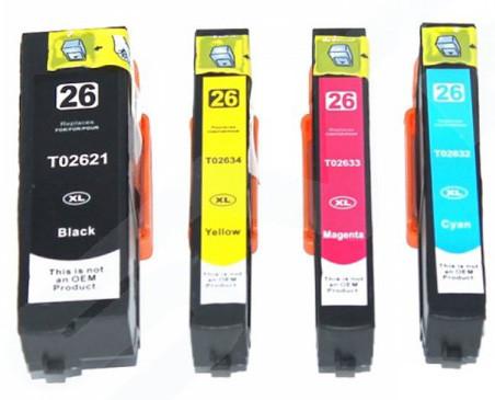 Kompatibilní inkousty s Epson T2621 černý, T2632 modrý, T2633 červený a T2634 žlutý (26XL)