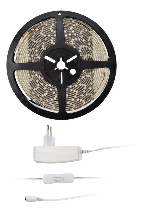 Solight LED světelný pás s testrem, 5m, sada s 12V adaptérem, 4,8W/ m, IP65, teplá bílá