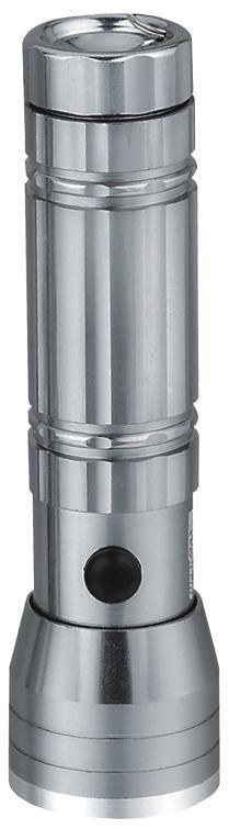 Solight LED svítilna, stříbrná, se šňůrkou, 15x LED + 1x laser