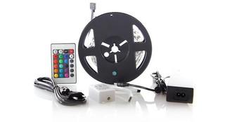 Solight LED světelný pás, RGB, 3m, sada s 12V adaptérem a dálk. ovladačem, 7,2W/ m, IP20