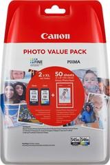 Originální inkoust Canon PG-545XL + CL-546XL + 50xGP-501 (8286B006), černý 15 ml. + barvený 13 ml.
